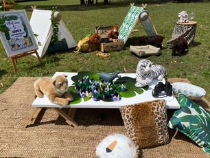 Jungle props, teepees, dog grazing table