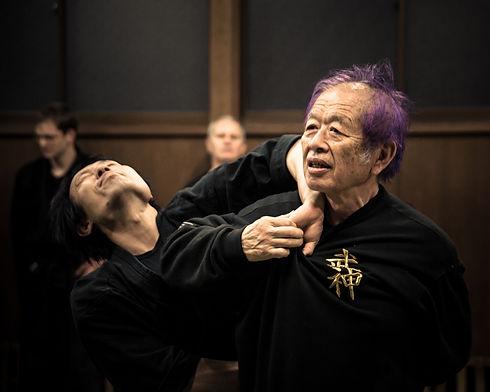 Photographie du grand maître Masaaki Hatsumi, héritier des neuf écoles du Bujinkan qui montre une forme de la technique Take Ori associée à une compression des doigts appelée Itami Jime.
