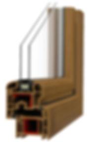 particolare di infisso in PVC con doppi vetri