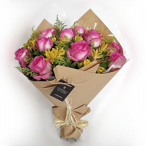 Buque 12 rosas Importadas Cor de Rosa