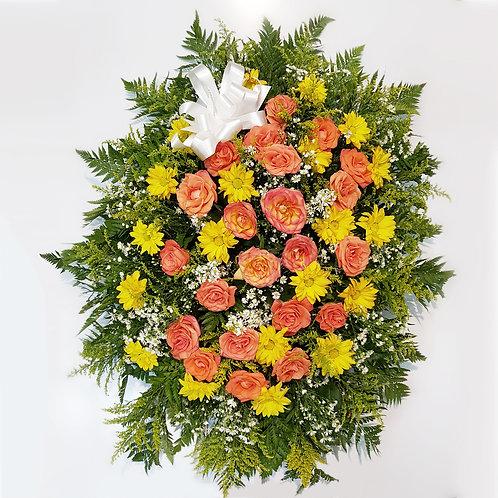 Coroa de Crisantemos e 20 Rosas Importadas