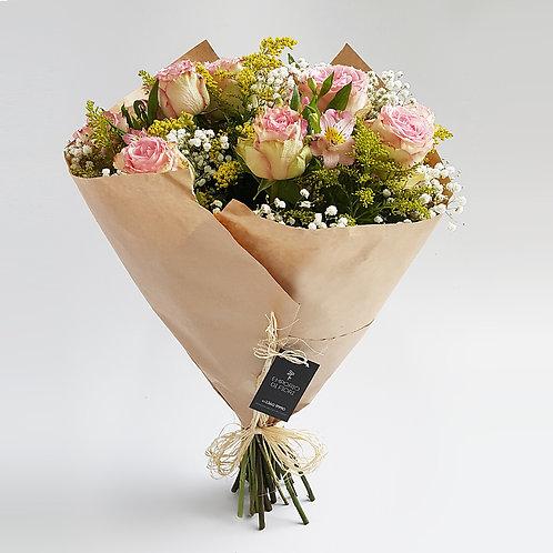 Buquê 12 Rosas Importadas Cor de Rosa