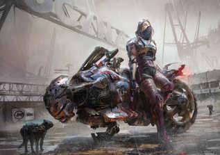 motorbike cyberpunk by vincent lefevre.j