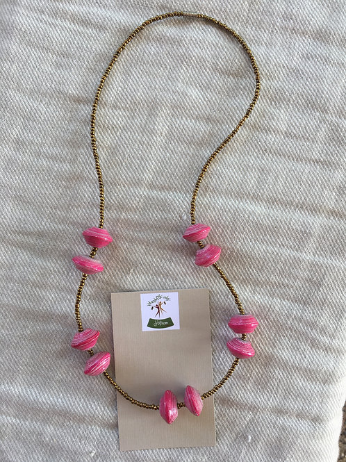 Pink Ugandan paper bead necklace