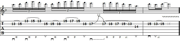 ligaduras hammer-on pull-off na guitarra lick na pentatonica
