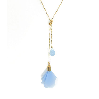 Flower and Teardrop double necklace in Angel Blue