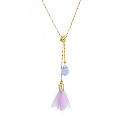 Flower and Teardrop double necklace in Lilac