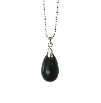 Large Teardrop pendant necklace in Shiny Black