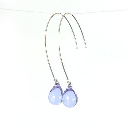 Teardrop wire earrings in Lilac