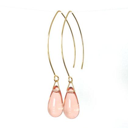 Teardrop wire earrings in Peach Pink
