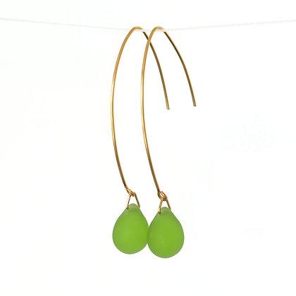 Teardrop wire earrings in Frosted Lime