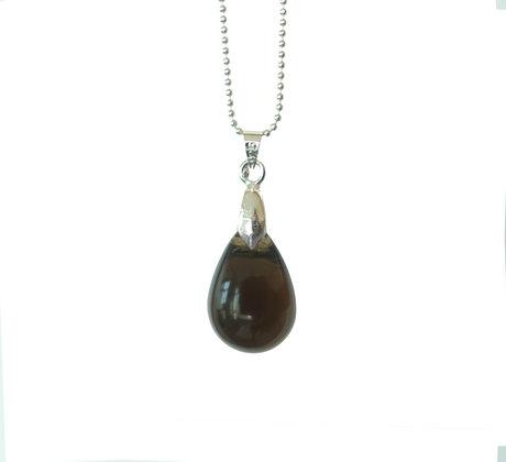 Teardrop pendant necklace in Smoke