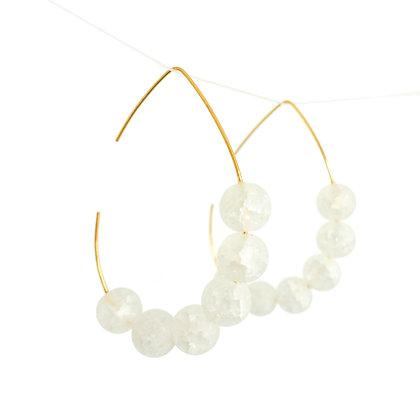 Teardrop hoop earrings with Quartzite stone in White