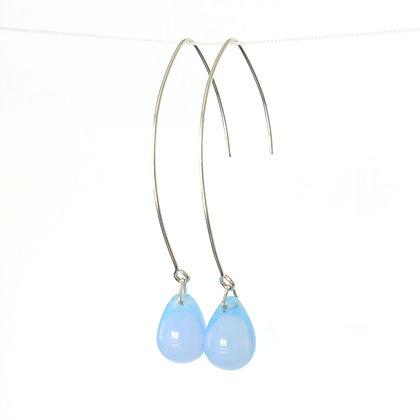 Teardrop wire earrings in Milky Angel Blue