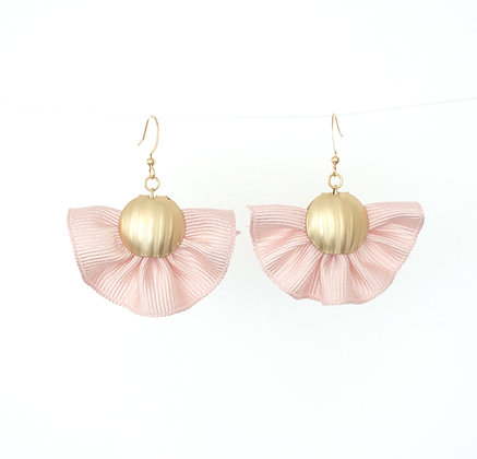 Small Fabric Fan Tassel earrings in Pink
