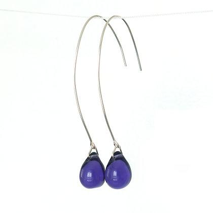 Teardrop wire earrings in Royal Purple