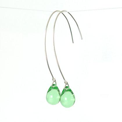 Teardrop wire earrings in Light Green