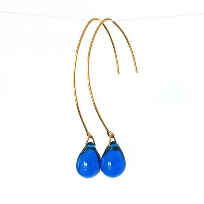 Teardrop wire earrings in Dark Blue