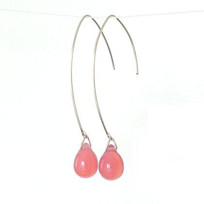 Teardrop wire earrings in Milky Strawberry Pink
