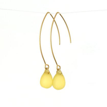 Teardrop wire earrings in Frosted Yellow