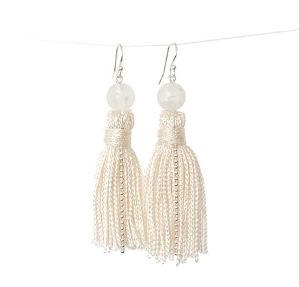 Tassel earrings in Champagne and Frosted White