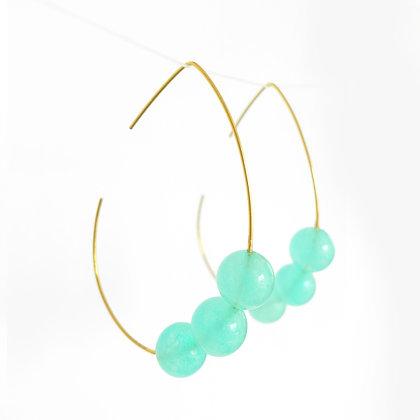 Teardrop hoop earrings with Quartzite stone in Maldive Green