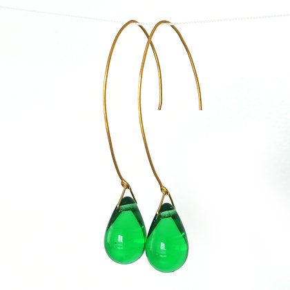 Teardrop wire earrings in Green