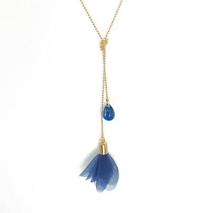 Flower and Teardrop double necklace in Dark Blue