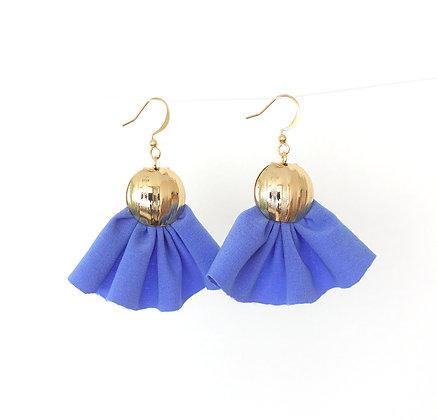 Fabric Fan Tassel earrings in Blue