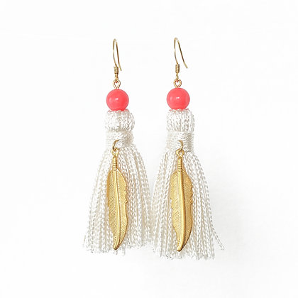Tassel earrings in Champagne and Coral