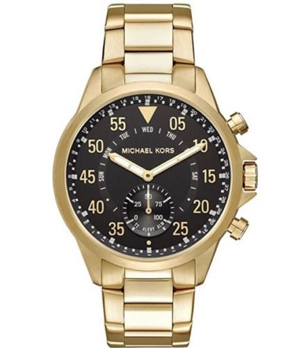177326bbfabe NWT Box Michael Kors MKT4014 Reid Gold-Tone Bracelet Hybrid 45mm Smartwatch