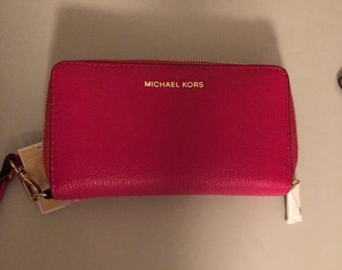 19b7a8bccb94 MICHAEL Michael Kors KORS STUDIO Large Flat Phone Case Wristlet Ultra Pink