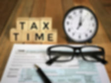 Tax-filling concept - 'Tax time' words o