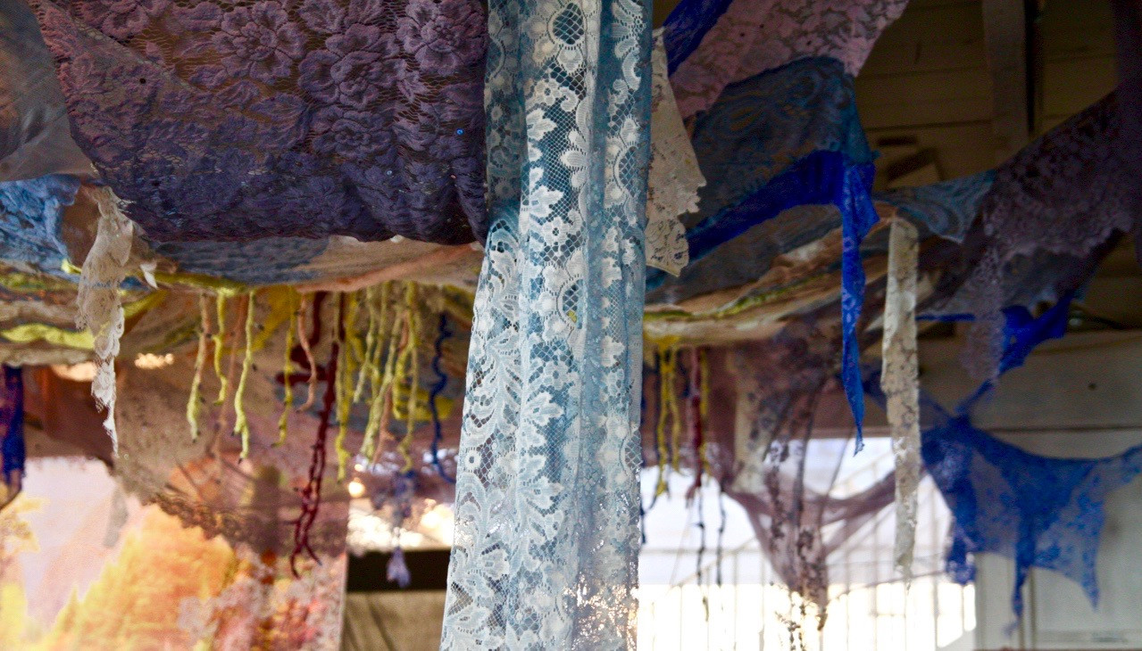 Hand dyed and beaded lace installation by Lynx and LittleHawk