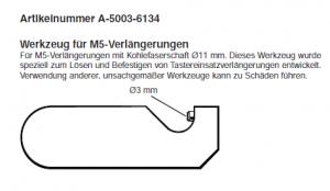 Schlüssel für M5 Verlängerungen mit 11 mm Durchmesser