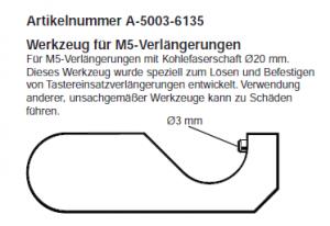 Schlüssel für M5 Verlängerungen mit 20 mm Durchmesser