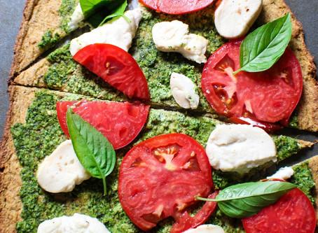 Basil Pesto & mozzarella pizza on a cauliflower crust