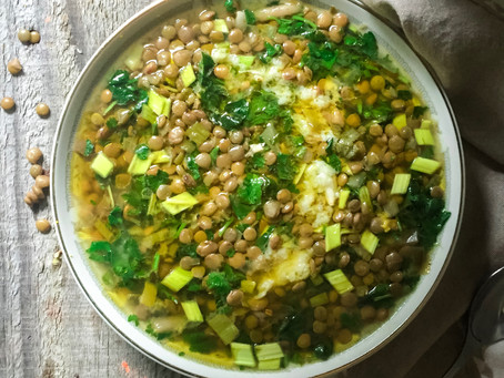 Heart Filling Lentil soup with chard & garlicky sauce