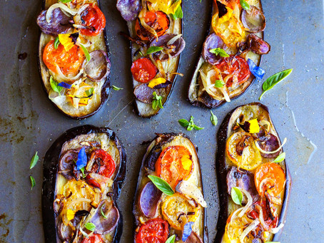 Rainbow roasted eggplants with caramelized onions
