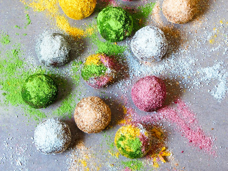 Easter vegan rainbow chocolate truffles