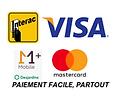 Facilité et flexibilité de paiement via Monetico Mobile +, carte de crédit Mastercard et Visa, ainsi qu'Interac.