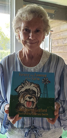 1st-time author Margaret with her book Fursey!