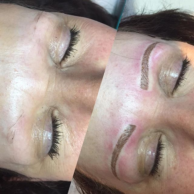 Thus client literally had no hair. Feather Touch Brows to the rescue! Work by Larissa at our Grange