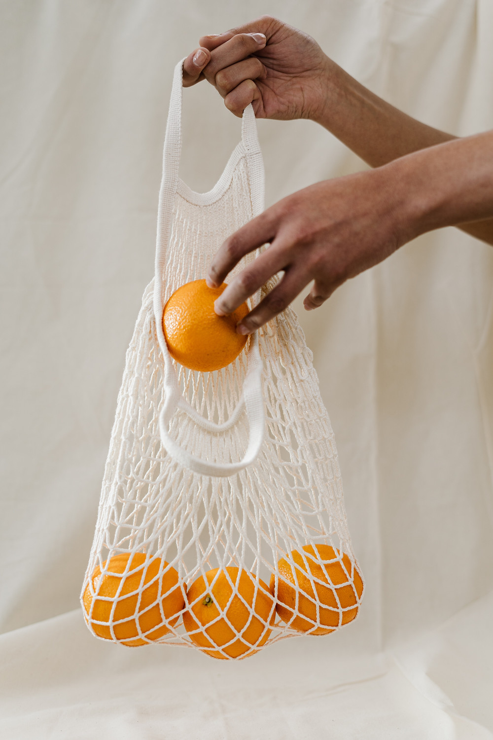 Fruit and veg in a net tote