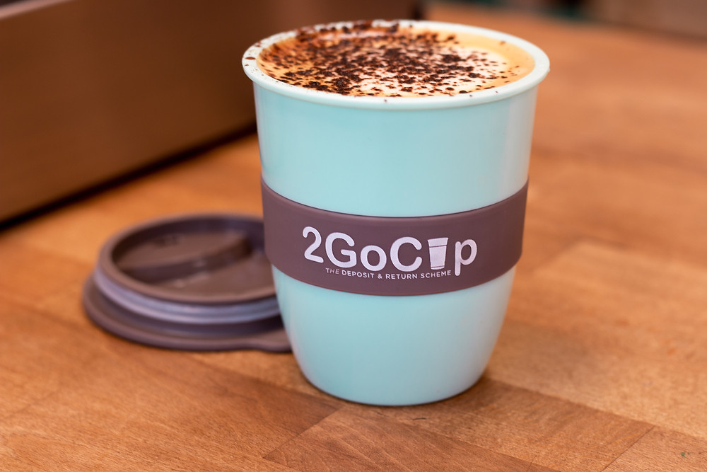 2GoCup coffee cup with cappuccino