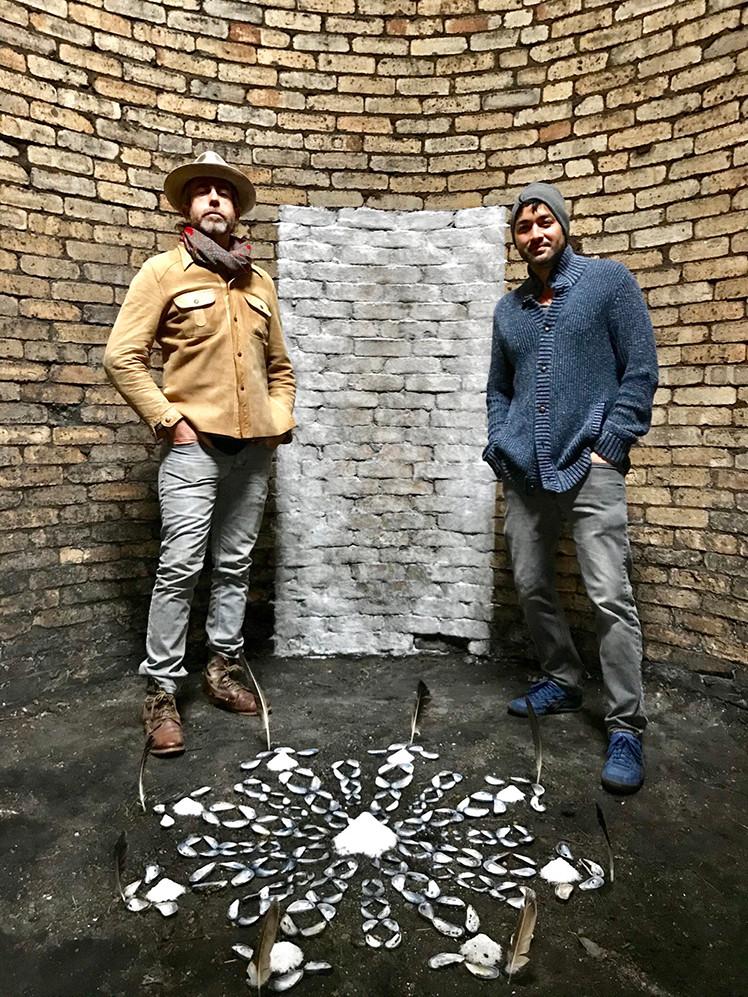 'Vefsíðunni,' ('Portal'), Icelandic salt, muscle shells, feathers, 2019. Installation with Day Schildkret
