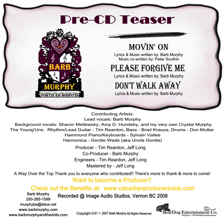 Pre CD release - back 4