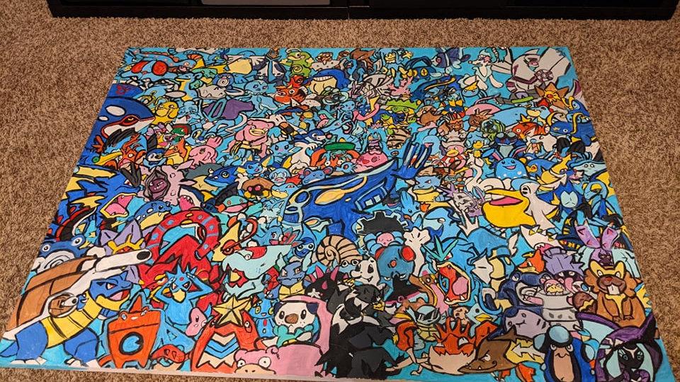 Water Pokemon Mural Painting