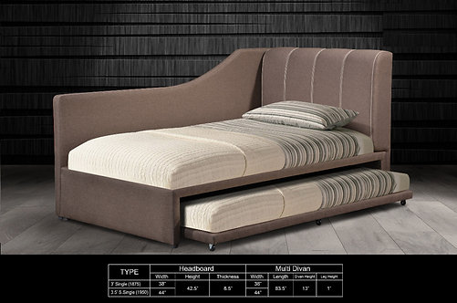 MX-86 Single Bed Frame With Single Pull Out Bed Frame
