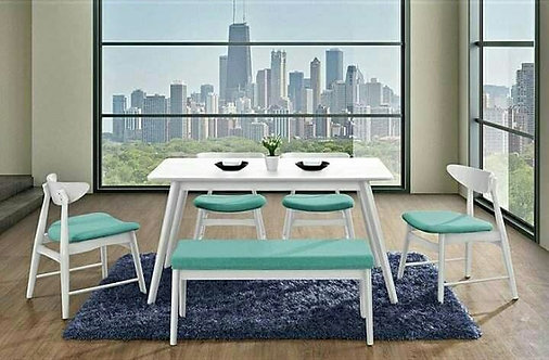 Fitchamp WhtX Solid Wood Dining Set